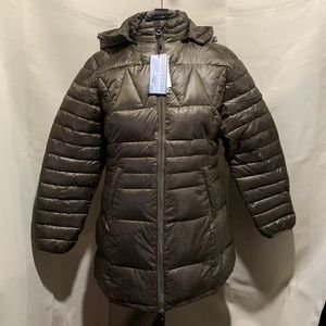 Spire By Galaxy Nippy Long Olive Green Puffer Coat